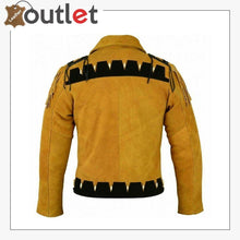 Load image into Gallery viewer, Men Golden Brown Suede Western Cowboy Leather Jacket