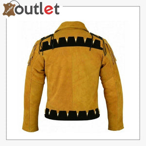 Men Golden Brown Suede Western Cowboy Leather Jacket