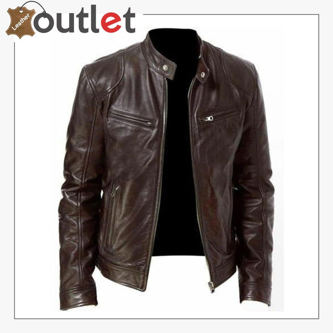 Men Real Vintage Cafe Racer New Brown Handmade Genuine Leather Jacket