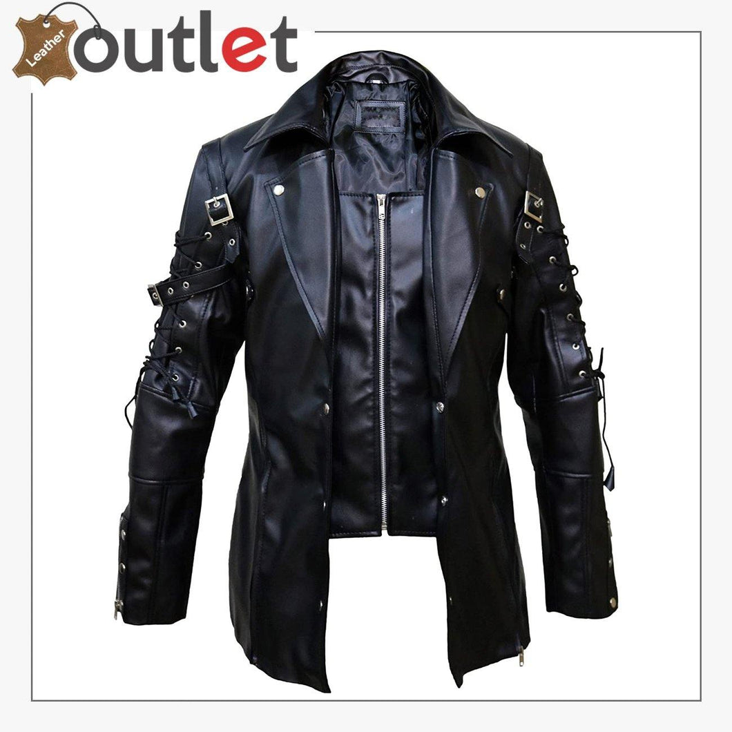 Men Simple Silver Studded Leather Jacket