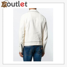 Load image into Gallery viewer, Men White Studded Leather Jacket, Motorcycle Fashion Leather Jackets
