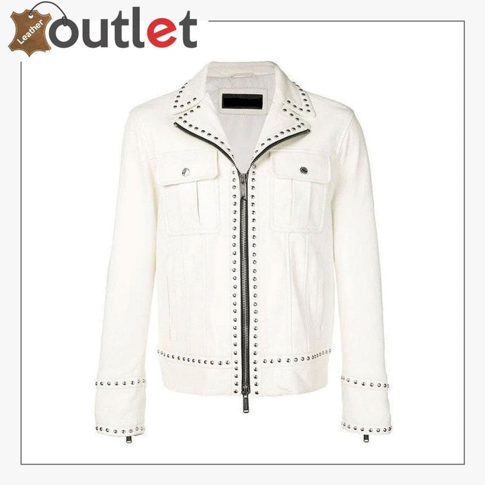 Men White Studded Leather Jacket, Motorcycle Fashion Leather Jackets