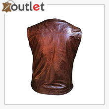 Load image into Gallery viewer, Men Hand Made Brown Cow Leather Soft Milled Leather Vest