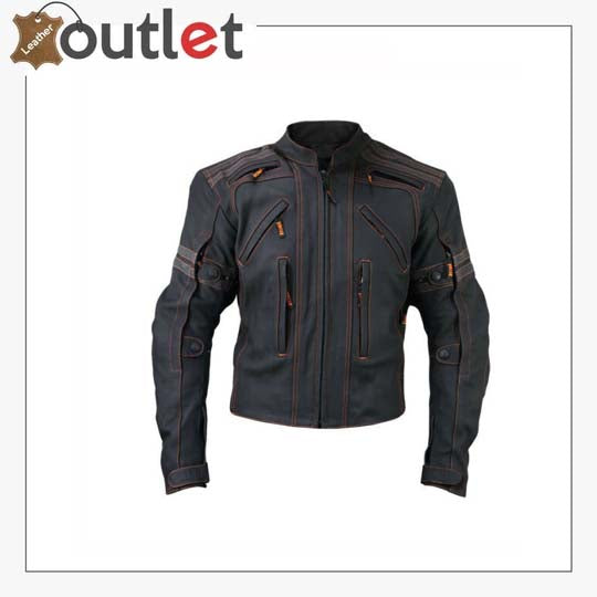 Men Racing Biker Motorcycle Leather Jacket