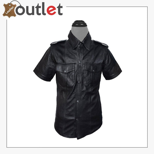 Men Very Hot Genuine Sheep Premium leather Police Shirt