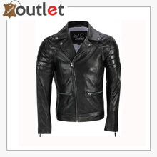 Load image into Gallery viewer, Men's Black Sheep Leather Vintage Style Biker Fashion Casual Leather Jacket