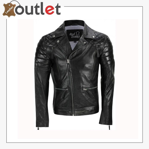 Men's Black Sheep Leather Vintage Style Biker Fashion Casual Leather Jacket