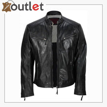 Load image into Gallery viewer, Men's Black Vintage Biker Style Waxed Sheep Skin Fashion Jacket - Leather Outlet