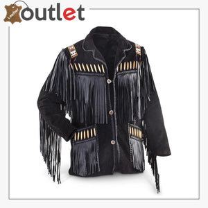 Men's Black Western Cowboy Western Leather jacket