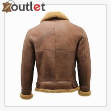 Load image into Gallery viewer, Men's Brown B3 Shearling Sheepskin WW2 Bomber Leather Flying Aviator Jacket