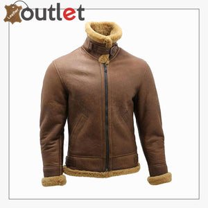 Men's Brown B3 Shearling Sheepskin WW2 Bomber Leather Flying Aviator Jacket