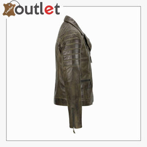 Men's Brown Sheep Leather Vintage Style Biker Fashion Casual Leather Jacket - Leather Outlet