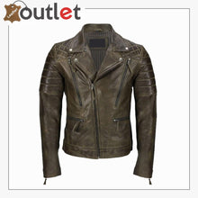 Load image into Gallery viewer, Men's Brown Sheep Leather Vintage Style Biker Fashion Casual Leather Jacket