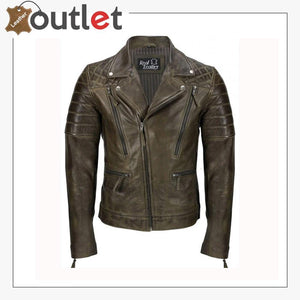 Men's Brown Sheep Leather Vintage Style Biker Fashion Casual Leather Jacket