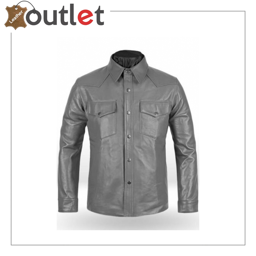 Men's Brown Shirt Designer Real Leather