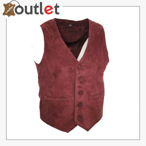 Men's Goat Suede Classic Smart Burgundy Leather Waistcoat - Leather Outlet