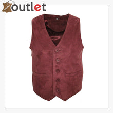 Load image into Gallery viewer, Men's Goat Suede Classic Smart Burgundy Leather Waistcoat - Leather Outlet