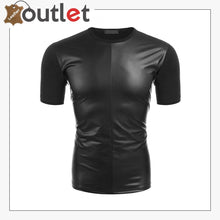 Load image into Gallery viewer, Men's Leather Like Short Sleeve T-shirt