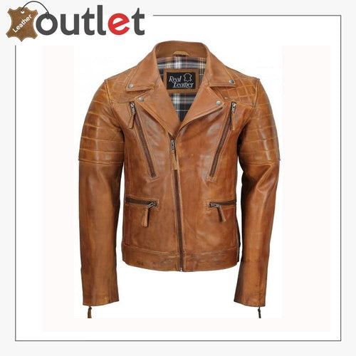 Men's Tan Sheep Leather Vintage Style Biker Fashion Casual Leather Jacket