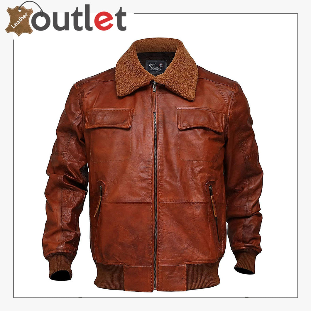 Men's Aviator Brown Air force Bomber A2 Flight Distressed Leather Jacket