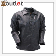 Load image into Gallery viewer, Handmade Men's Black Leather Lace Up Pull Over Leather Shirt