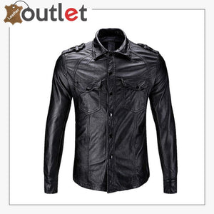 Casual Real Sheep Leather Full Sleeves Police Shirt for Mens