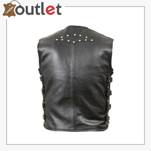 Men's Genuine Cow Leather Heavy Buckled Rocker Biker Motorcycle Vest