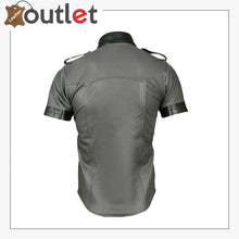 Load image into Gallery viewer, Men's Genuine Leather Grey Half Sleeves Shirt