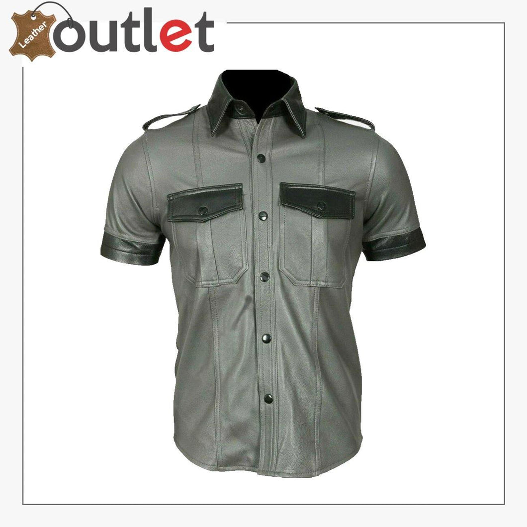 Men's Genuine Leather Grey Half Sleeves Shirt