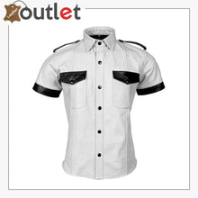 Load image into Gallery viewer, Men's Genuine Leather White Shirt Police Style