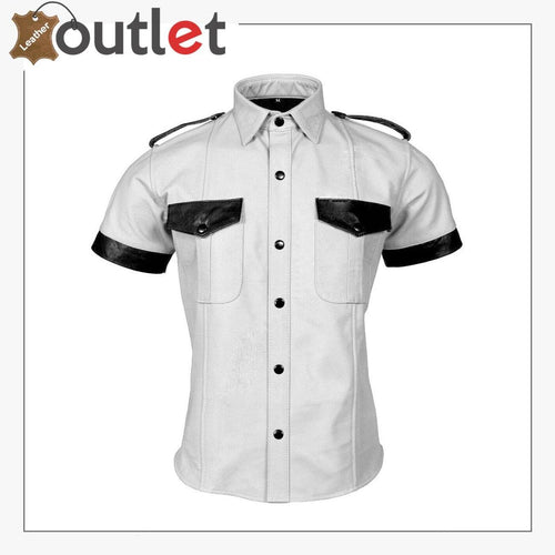 Men's Genuine Leather White Shirt Police Style