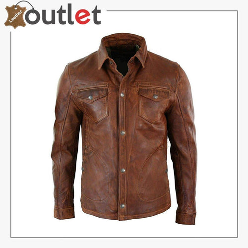 Men's Tan Timber Washed Slim Fit Shirt Jacket