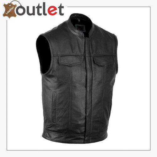 Mens Black Classic Leather Vest