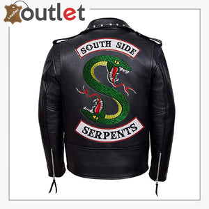 Mens Black Fashion Studded Punk Style Leather Jacket