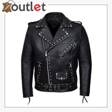 Load image into Gallery viewer, Mens Black Fashion Studded Punk Style Leather Jacket