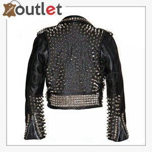 Mens Black Fashion Studded Style Leather Jacket