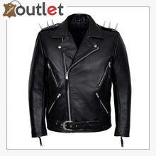 Load image into Gallery viewer, Mens Black Metal Spikes Motorcycle Cowhide Leather Jacket