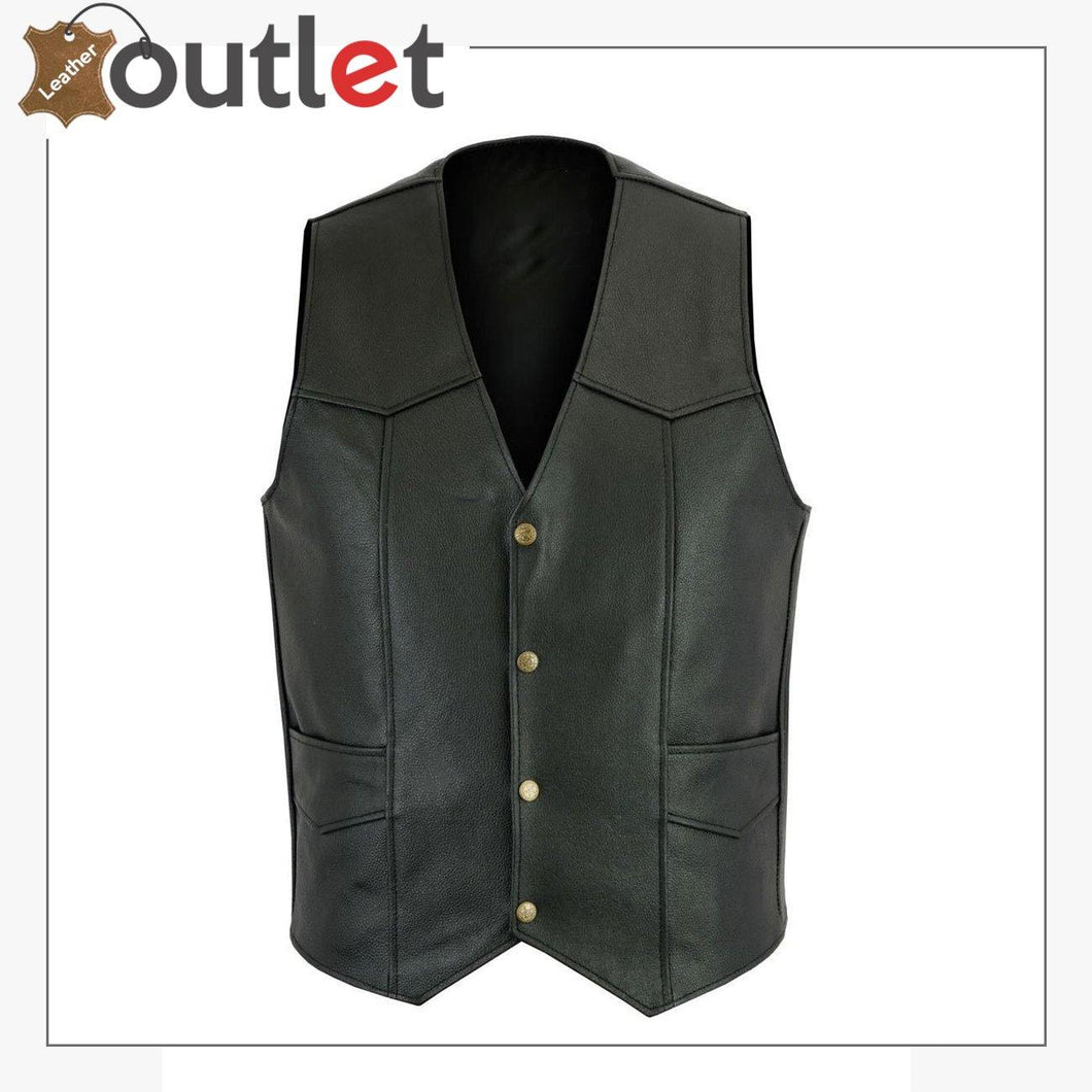 Mens Black Plain Real Leather Vest