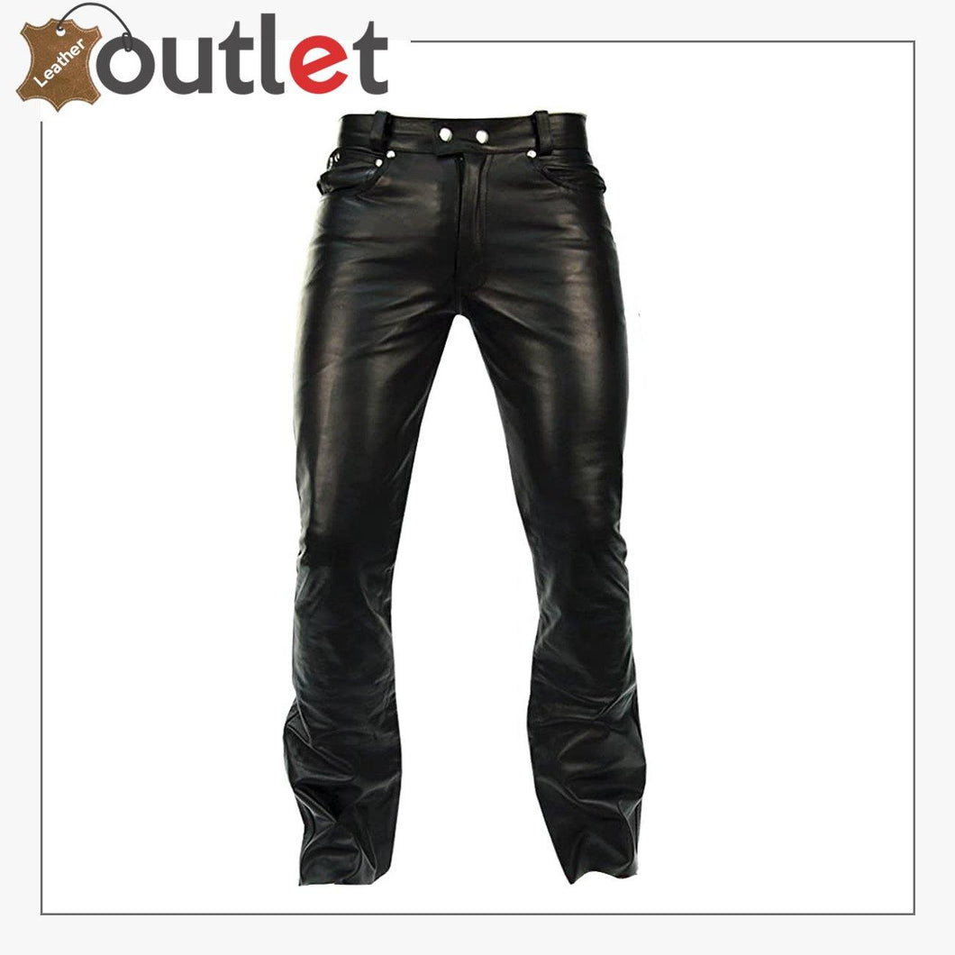 Mens Black Leather Pants