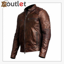 Load image into Gallery viewer, Mens Brown Cafe Racer Vintage Distressed Motorbike Leather Jacket