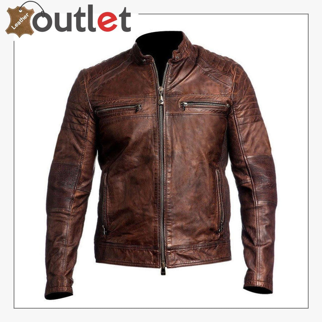 Mens Brown Cafe Racer Vintage Distressed Motorbike Leather Jacket