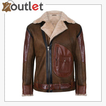 Load image into Gallery viewer, Mens Brown Crossover B3 Sheepskin Aviator Flying Leather Biker Jacket
