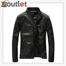 Load image into Gallery viewer, Mens Casual Zip Up Slim Bomber Faux Leather Jacket