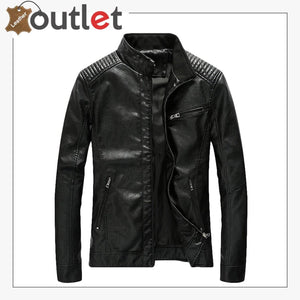 Mens Casual Zip Up Slim Bomber Faux Leather Jacket