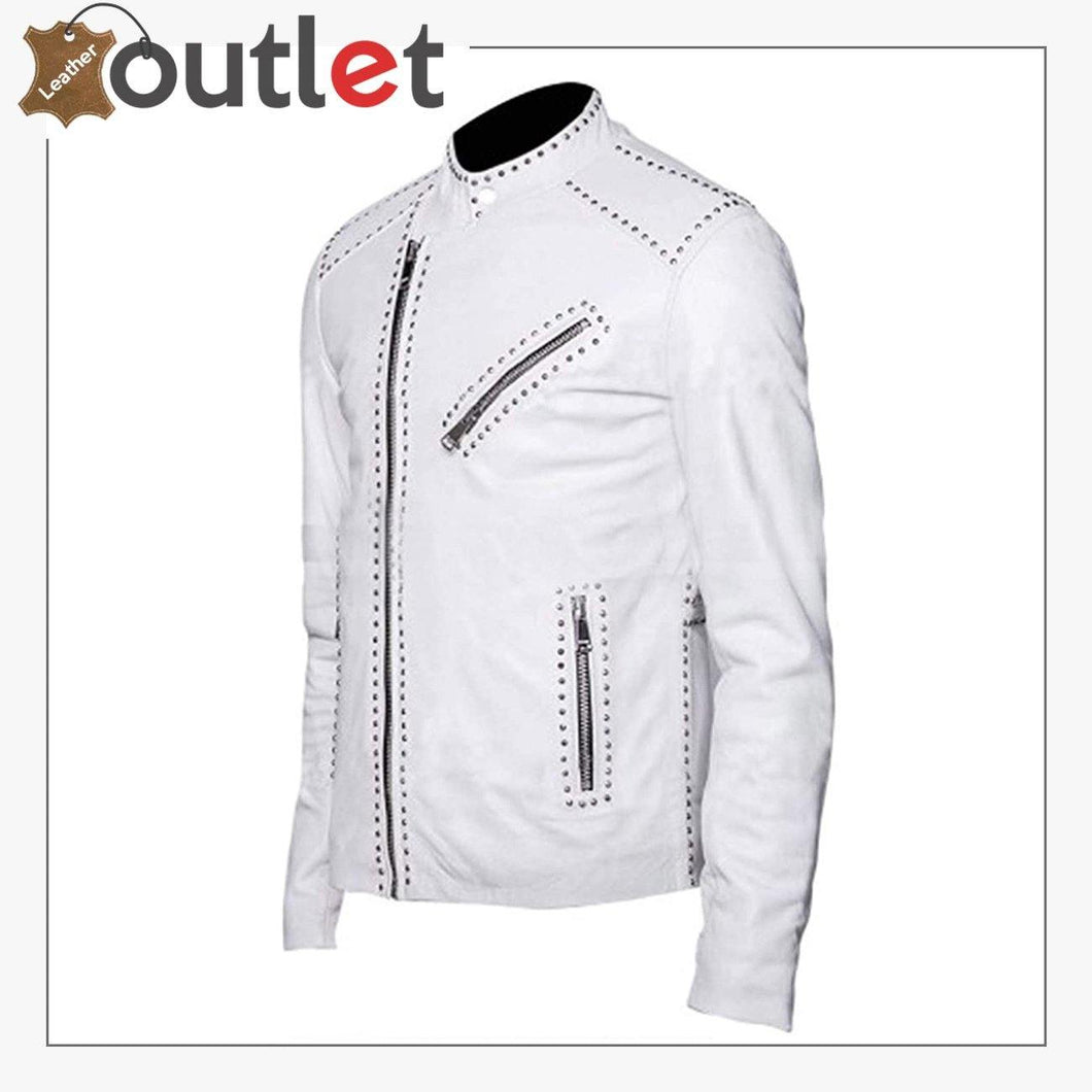 Mens Classic Brando Motorcycle Silver Studded White Geniune Leather Jacket