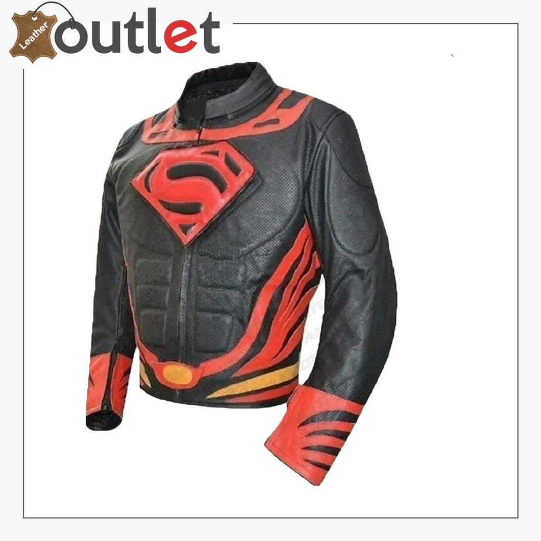 Mens Fashion Motorcycle Superman Real Leather Jacket