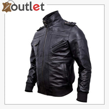 Load image into Gallery viewer, Mens Genuine Black Hooded Bomber Leather Jacket