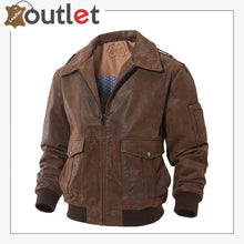 Load image into Gallery viewer, Mens Leather Flight Bomber Jacket