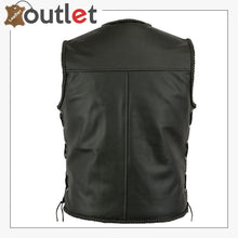 Load image into Gallery viewer, Mens Leather Vest Buckle Motorbike Vest
