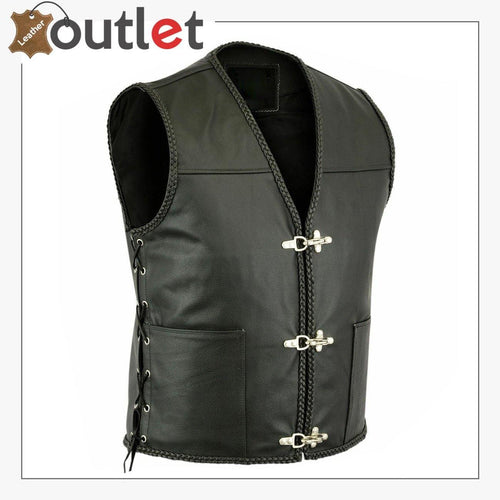 Mens Leather Vest Buckle Motorbike Vest